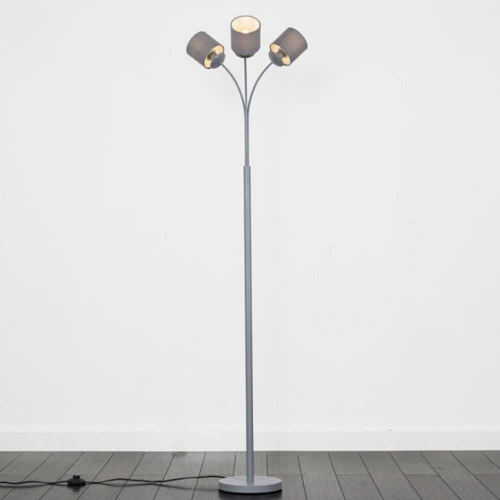 official photos 83192 769e4 23305 Argent Grey 3 Way Floor Lamp With Shades