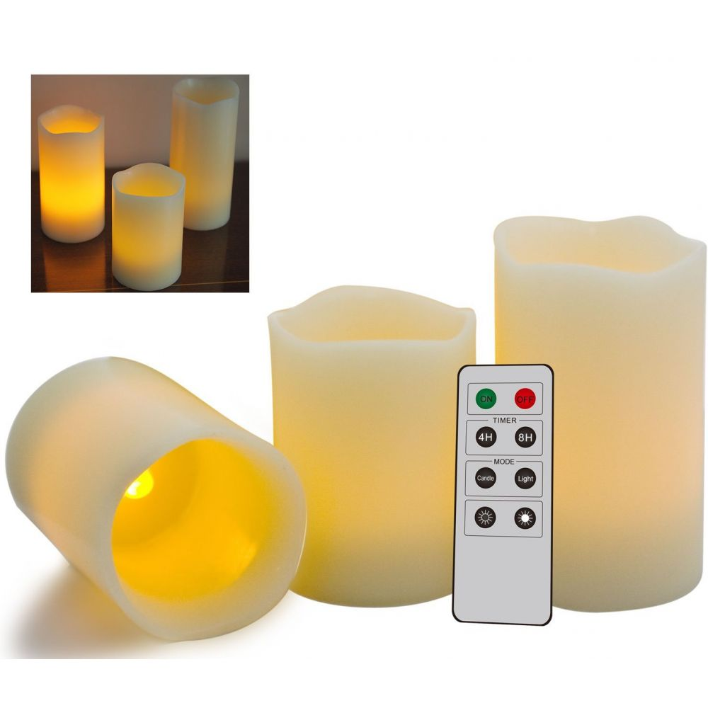 powermaster 3x led wax candles battery operated remote control 3x0 1w. Black Bedroom Furniture Sets. Home Design Ideas