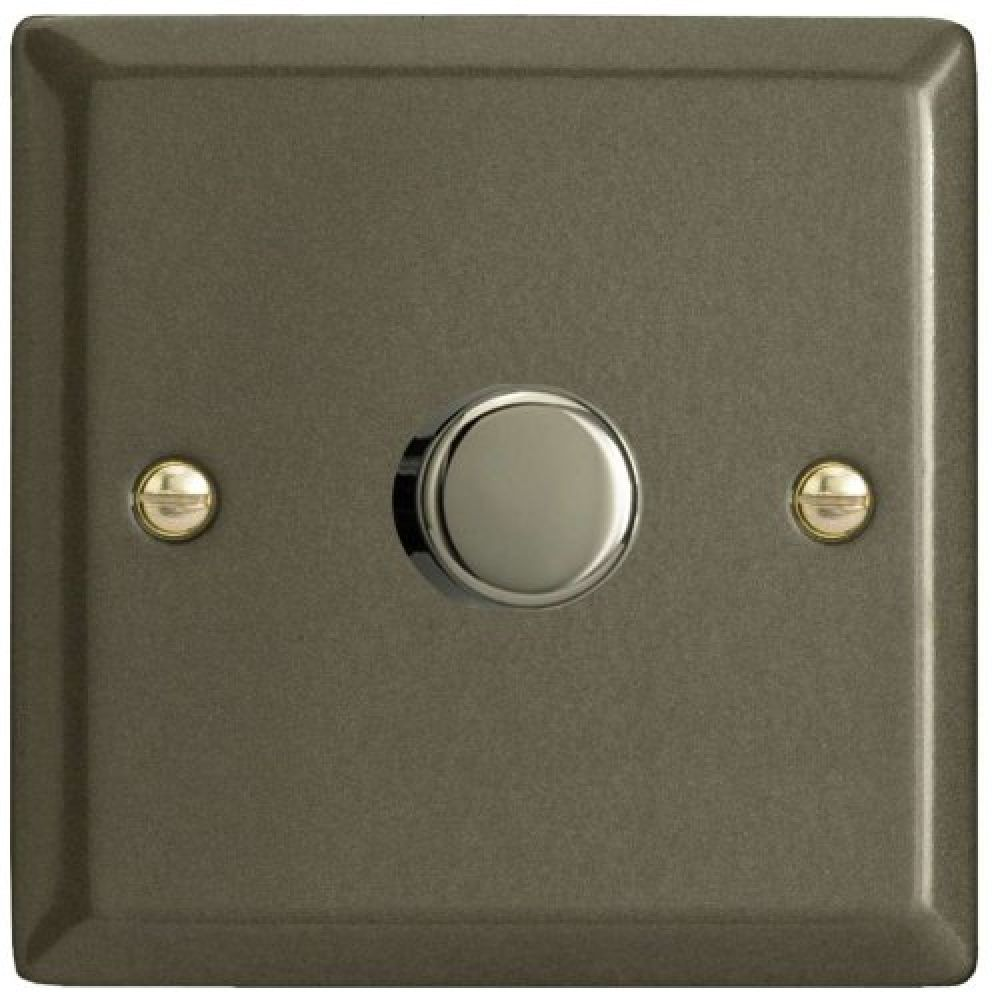 V Pro 1 Gang 2 Way 400w Push On Off Led Dimmer Light Switch Graphite Jpp401