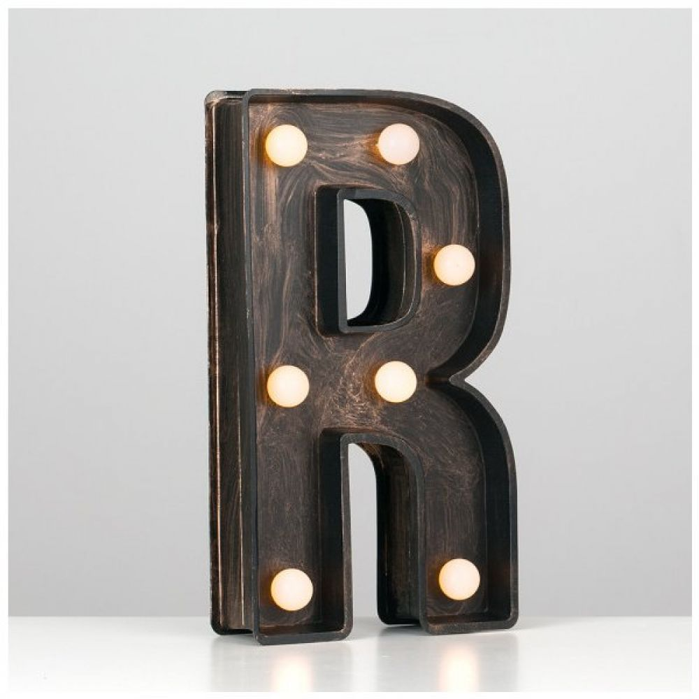 Minisun Light Up Letter R Vintage Style With Bronze  Black Finish