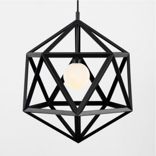 Minisun 22083 Iconic Cubik Painted Electric Pendant in Matt Black